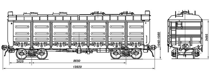 4-осный полувагон со съемной крышей, модели 12-141 и 12-119