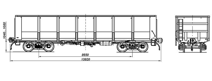 4-осный полувагон с глухим кузовом, модель 12-295H