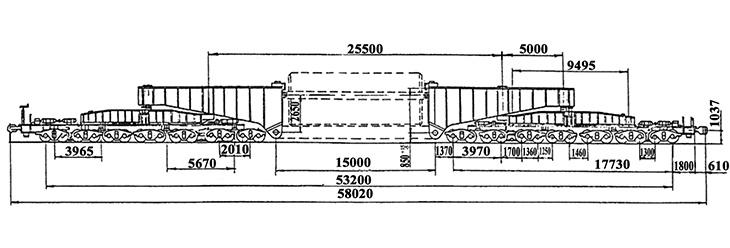 28-осный транспортер сочлененного типа г.п. 400 т., усл. модель 14-T003, обозначение по нумерации 3996 (тип)