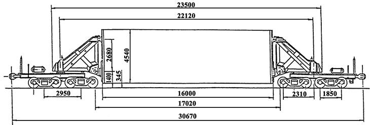 8-осный транспортер сочлененного типа, модель 14-T007 обозначение по нумерации 3990 (тип)