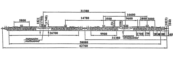 32-осный транспортер сцепного типа, модель 14-T051, обозначение по нумерации 3978-3979 (тип)