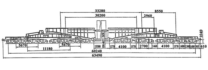 32-осный транспортер сочлененного типа г.п. 500 т., усл. модель 14-T002, обозначение по нумерации 3997 (тип)