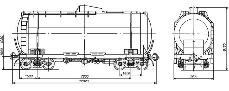 4-осная цистерна для метанола, модели 15-1610-02