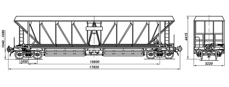 4-осный вагон-хоппер для охлажденного кокса, модель 22-1764