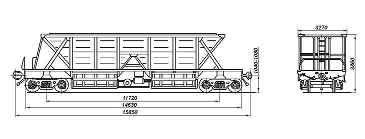 4-осный вагон-хоппер для угля, модель 22-4003