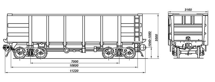 4-осный полувагон для сыпучих металлургических грузов, модель 22-4008