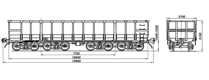 8-осный полувагон с глухим кузовом для медной руды, модель 22-4024