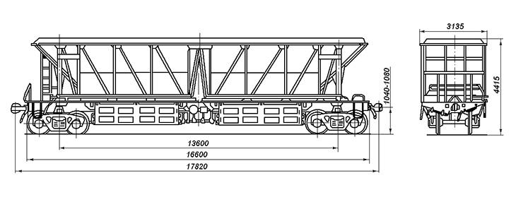 4-осный вагон-хоппер для охлажденного кокса, модель 22-4070