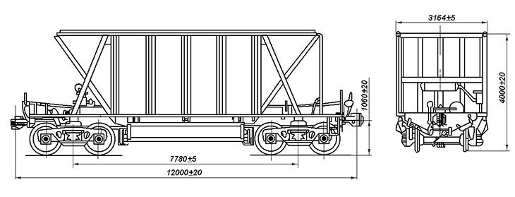 4-осный вагон-хоппер для сыпучих грузов, модель 25-4086