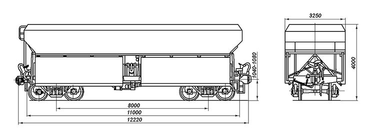 4-осный саморазгружающийся полувагон, модель 55-3100