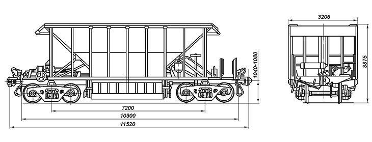 4-осный саморазгружающийся полувагон, модель 55-320 и 55-320-01